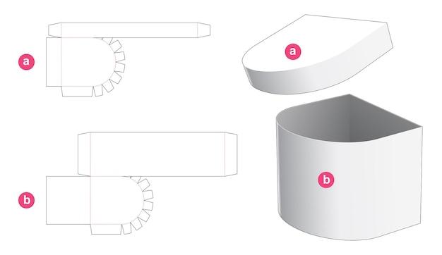 Eenzijdige ronde doos met gestanste sjabloon van het deksel Premium Vector