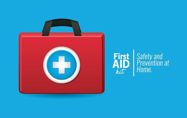 Eerste aid-pictogram op blauwe illustratie