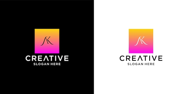 Eerste ak-logo met sjabloon voor visitekaartjes