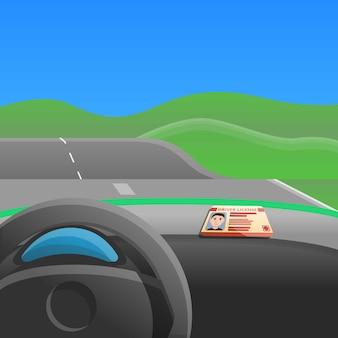 Eerste auto aandrijving concept illustratie, cartoon stijl