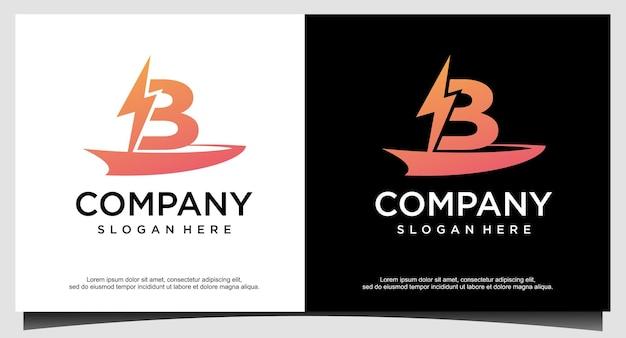 Eerste b blitz verlichting logo ontwerp vector