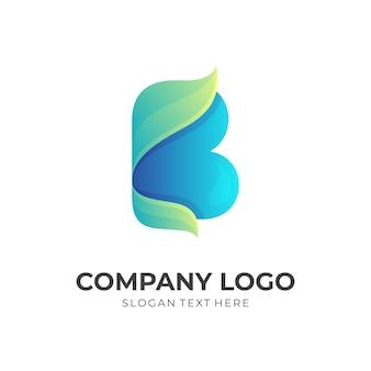 Eerste b met blad logo ontwerp concept combinatie, 3d-kleurrijke stijl