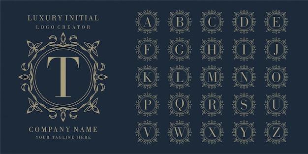 Eerste bedge floral frame logo-ontwerp