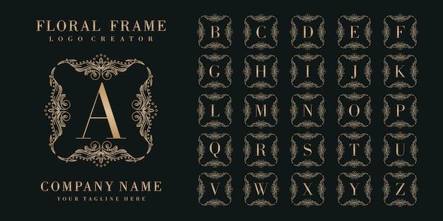 Eerste bedge logo-ontwerp met bloemen frame