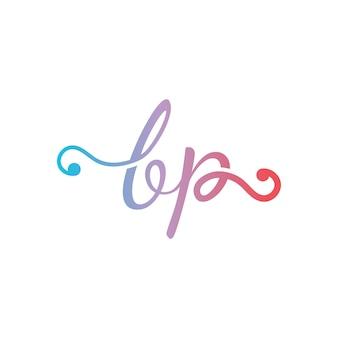 Eerste bp brief logo ontwerp vector tempelt