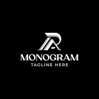 Eerste brief ra ar ra monogram logo sjabloon