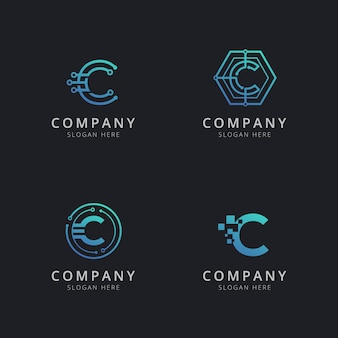 Eerste c-logo met technologie-elementen in blauwe kleur