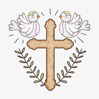 Eerste communie met kruis en duiven met takkenbladeren