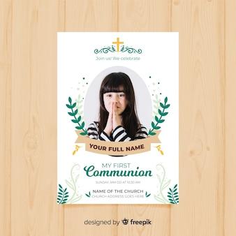 Eerste communie uitnodigingssjabloon met foto