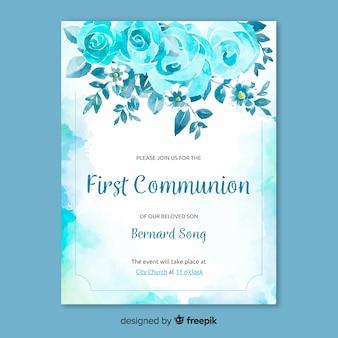 Eerste communie uitnodigingssjabloon