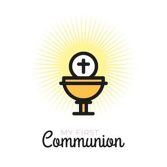 Eerste communiesymbolen voor een aardig uitnodigingsontwerp
