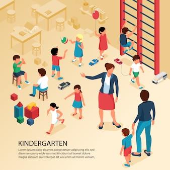Eerste dag kleuterschoolactiviteiten isometrische samenstelling met leraar ouder met kind spelende kinderen poster tekst