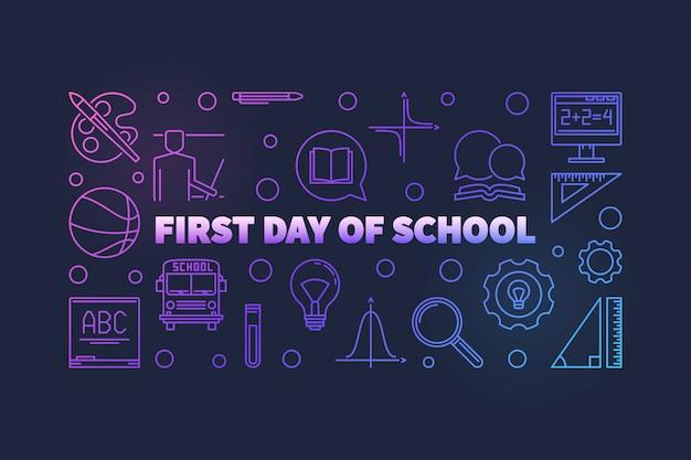 Eerste dag van school vector kleurrijke dunne lijn illustratie