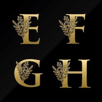 Eerste efgh-briefembleem met eenvoudige bloem in gouden kleur