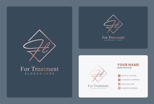 Eerste ft-logo-ontwerp met handgetekende stijl.