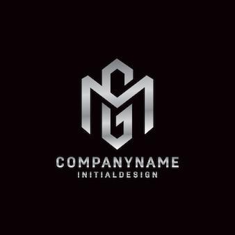 Eerste gm-concept van het brievenembleem eenvoudige en minimalistische stijl