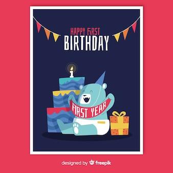 Eerste groet van de verjaardags de gelukkige beer