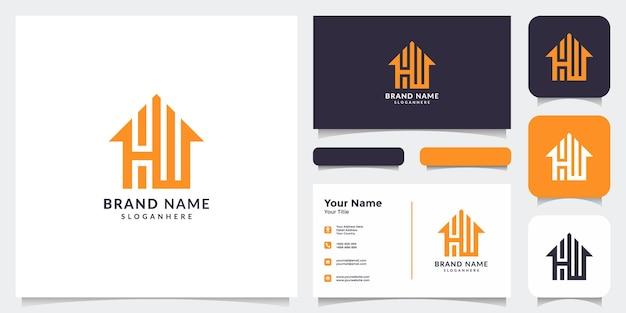 Eerste h en w logo met visitekaartje onroerend goed logo