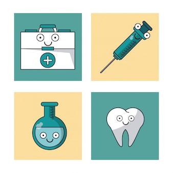 Eerste hulp kit spuit reageerbuis en tand v