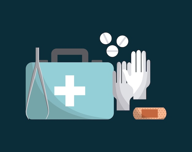Eerste hulp koffertje met geneeskunde apparatuur pictogrammen