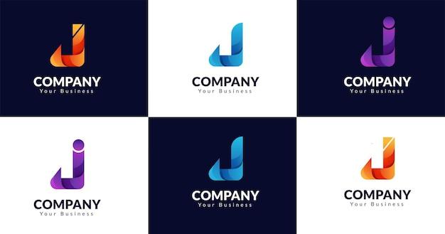 Eerste j briefsjabloon logo ontwerp