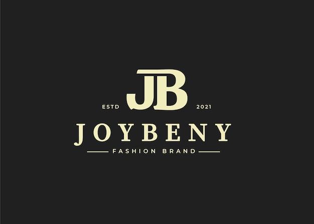 Eerste jb-briefsjabloon voor logo, vectorillustraties