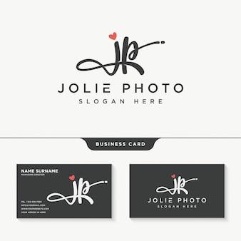 Eerste jp handtekening logo ontwerpsjabloon