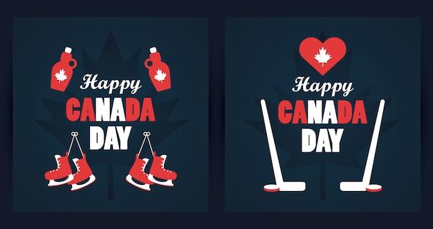 Eerste juli canada wenskaart met mapple siroopflessen en schaatsen