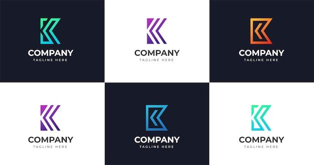Eerste k briefsjabloon logo ontwerp, lijn concept instellen