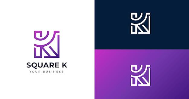 Eerste k briefsjabloon logo ontwerp, lijn concept