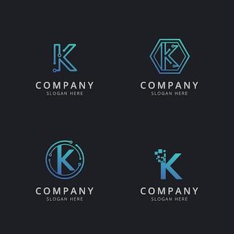 Eerste k-logo met technologie-elementen in blauwe kleur