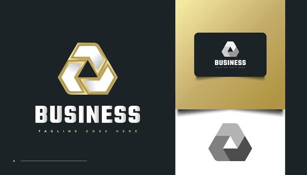 Eerste letter a-logo-ontwerp met oneindige driehoeksstijl in wit en goud