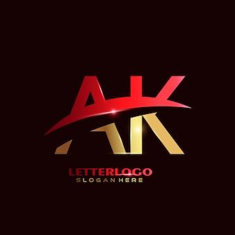 Eerste letter ak-logo met swoosh-ontwerp voor bedrijfs- en bedrijfslogo.