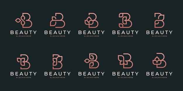 Eerste letter b met abstract bladelement. minimalistisch lijntekeningen monogram vormlogo.