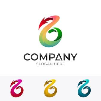 Eerste letter b met pijl bedrijfslogo concept