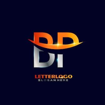 Eerste letter bp-logo met swoosh-ontwerp voor bedrijfs- en bedrijfslogo.