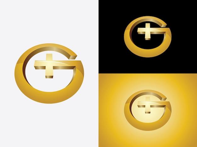 Eerste letter g in cirkelvorm met artsen plusteken in heldere gouden kleur logo vector monogram pictogrammalplaatje