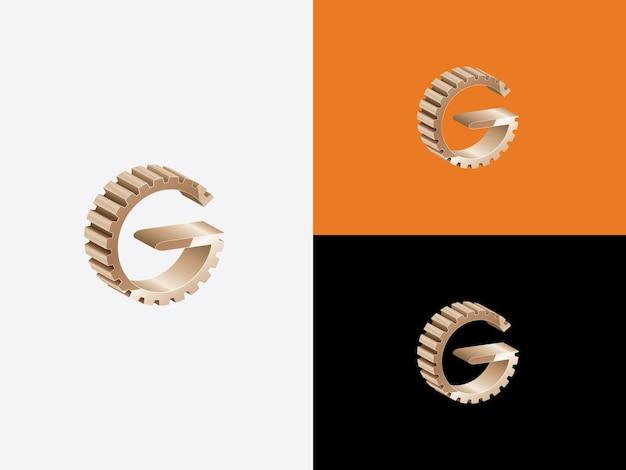 Eerste letter g in versnellingsvorm met gouden kleur logo vector monogram pictogrammalplaatje