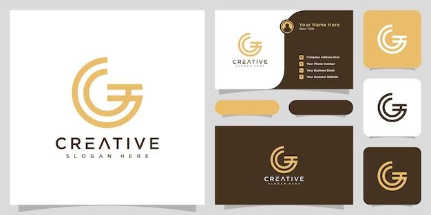 Eerste letter g logo lijnstijl vector ontwerp