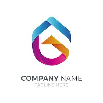 Eerste letter g-logo met huisdak