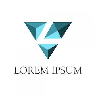 Eerste letter l + diamantlogo met negatieve ruimtestijl