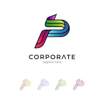 Eerste letter p-logo geïsoleerd op wit