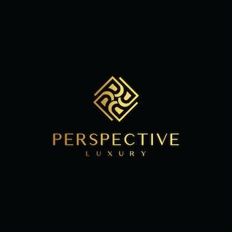Eerste letter p-logo met rhombuslijn goud