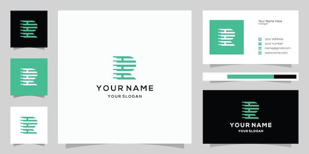 Eerste letter r of rh-logo en sjabloonpictogrammen voor visitekaartjes voor digitale mode-autotechnologie