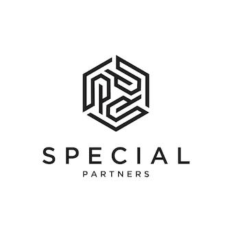 Eerste letter sp logo met zeshoek sjabloon