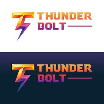 Eerste letter t met bliksemschicht kleurovergang logo, sjabloon