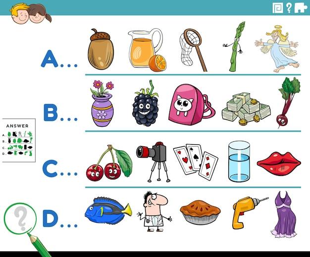 Eerste letter van een woord cartoon educatieve taak voor kinderen
