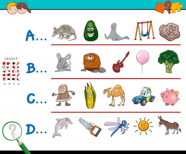 Eerste letter van een woord educatief spel voor kinderen