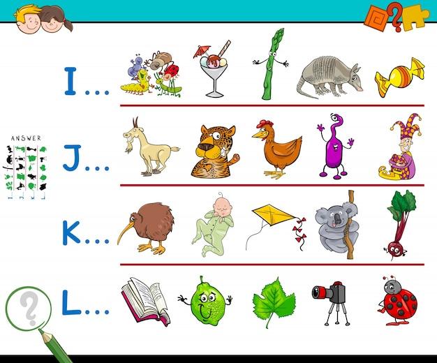 Eerste letter van een woord werkboekspel