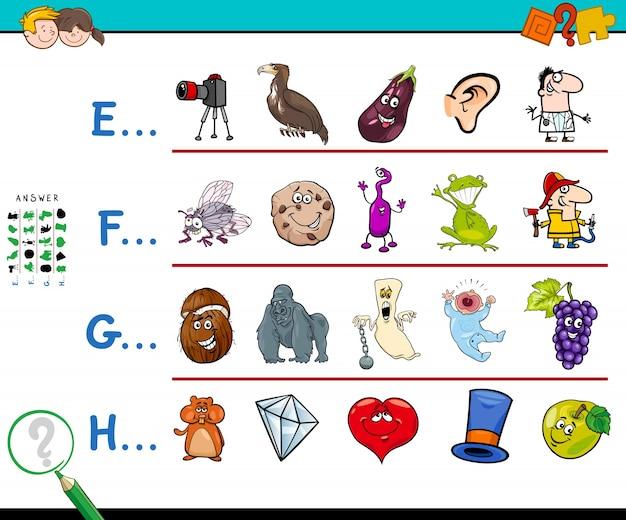 Eerste letter van een woordactiviteit voor kinderen